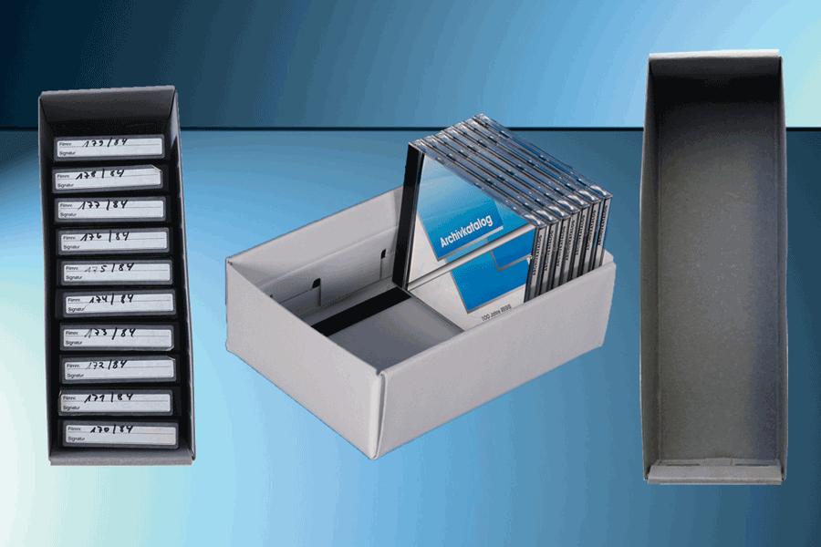 Medienboxen für CD, Mikrofilm, Mikrofiches