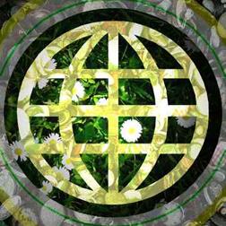 Umwelt -Stilisierte Weltkugel mit Pflanzen